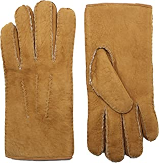 YISEVEN Men's Curly Shearling Leather Gloves New Zealand Sherpa Fur Handmade