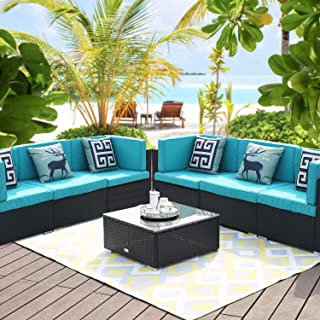 LUCKWIND Patio Conversation Sectional Sofa Chair Table - 7 Piece All-Weather Black Checkered Wicker Rattan Seating Cushion Patio Ottoman Modern Glass Coffee Table Outdoor Accend Pillow 300lbs (Green)
