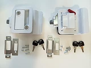 Pair Travel Trailer Locks, Polar White Keyed Alike