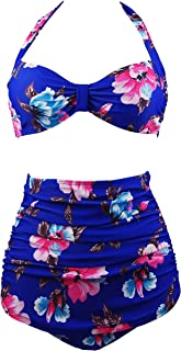 Retro 50s Black Blue Floral Vintage High Waist Bikini Carnival Swimsuit(FBA)