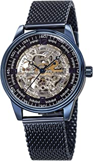 Akribos Automatic Skeleton Mechanical Men's Watch - Luxury Professional Mesh Bracelet See Through Dial - IP Case with A Skeletonized Dial - Great for Father's Day -AK1074