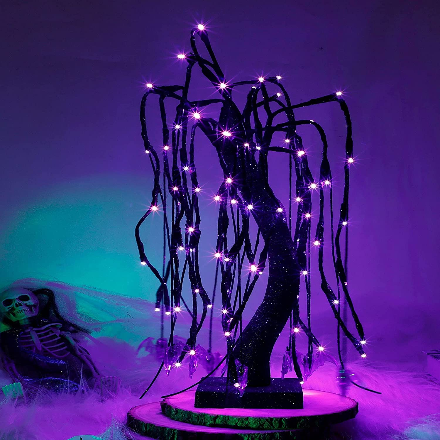 kemooie 20 Max 88% OFF Inch 80 Led Tabletop Willow Tree Halloween Be super welcome wit Lights