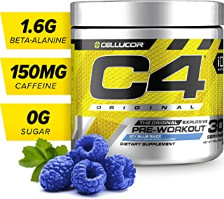 C4 Original Pre Workout Powder Icy Blue Razz | Sugar Free Preworkout Energy Supplement for Men & Women | 150mg Caffeine + beta Alanine + Creatine | 30 Servings