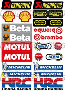 Kungfu Graphics SHELL/AKRAPOVIC Exhaust/HRC/Beta Sponsor Logo Racing Helmet Sticker Sheet Universal (7.2 x 10.2 inch)