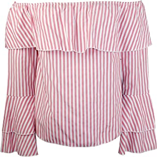 HYFVE Womens Striped Off The Shoulder Top Pink and White Stripe Small