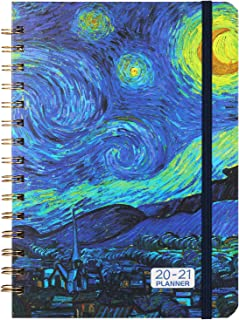 """2020-2021 Planner - Weekly & Monthly Planner 6.37"""" x 8.46"""" with Hardcover, Starry Cover, Calendar, Monthly Tabs, Back Pocket, Twin-Wire Binding, Easy for Your Writing"""