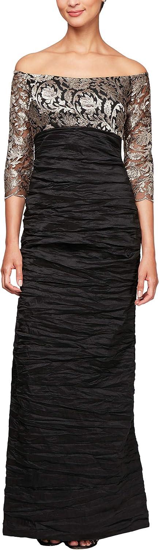 Alex Evenings Womens Long Off The Shoulder Empire Waist Dress Special Occasion Dress