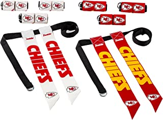 Franklin Sports Kansas City Chiefs Flag Football Set - 8 Flag Belts - 8 Player - Self Stick Tear-Away Flags - NFL Official Licensed Product