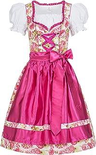 Gaudi-Leathers Damen Dirndl Kleid Dirndlkleid Trachtenkleid Midi Mimi Blumendruck pink