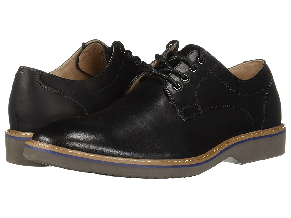 Florsheim Union Plain Toe Oxford (Black Leather/Crazy Horse/Grey Sole) Men
