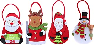 Juvale Decorative Christmas Bags - Holiday Fun Xmas DecorDecorations Bag Stockings Santa, Snowman, Reindeer - 4 Piece Set - 3 x 7.5 x 2.5