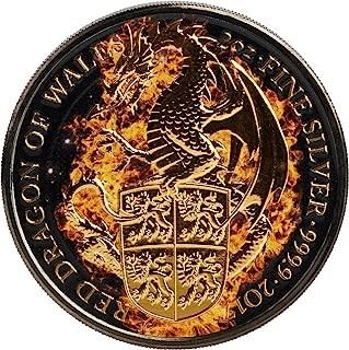 2017 GB Queen Beasts Burning PowerCoin BURNING DRAGON Queen Beasts 2 Oz Silver Coin 5£ United Kingdom 2017 BU Brilliant Uncirculated