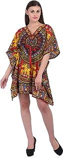 RADANYA Womens Boho Hippie Kaftan Short Length Night Wear Free Size Polyester Dress - Blue