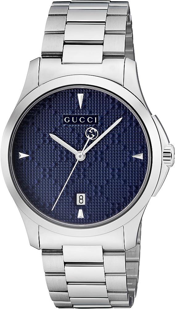 Orologio analogico classico quarzo unisex con cinturino in acciaio inox gucci YA1264025