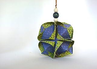 origami Clover Kusudama, 12 moduli verde e blu