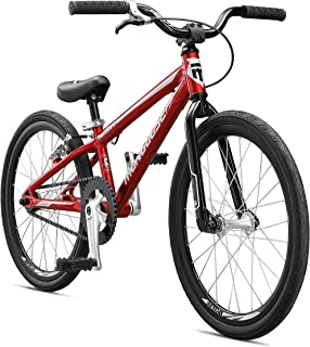 Mongoose Title Micro BMX Race Bike with 20-Inch Wheels in Red for Beginner Riders, Featuring Lightweight Tectonic T1 Aluminum Frame and Internal Cable Routing