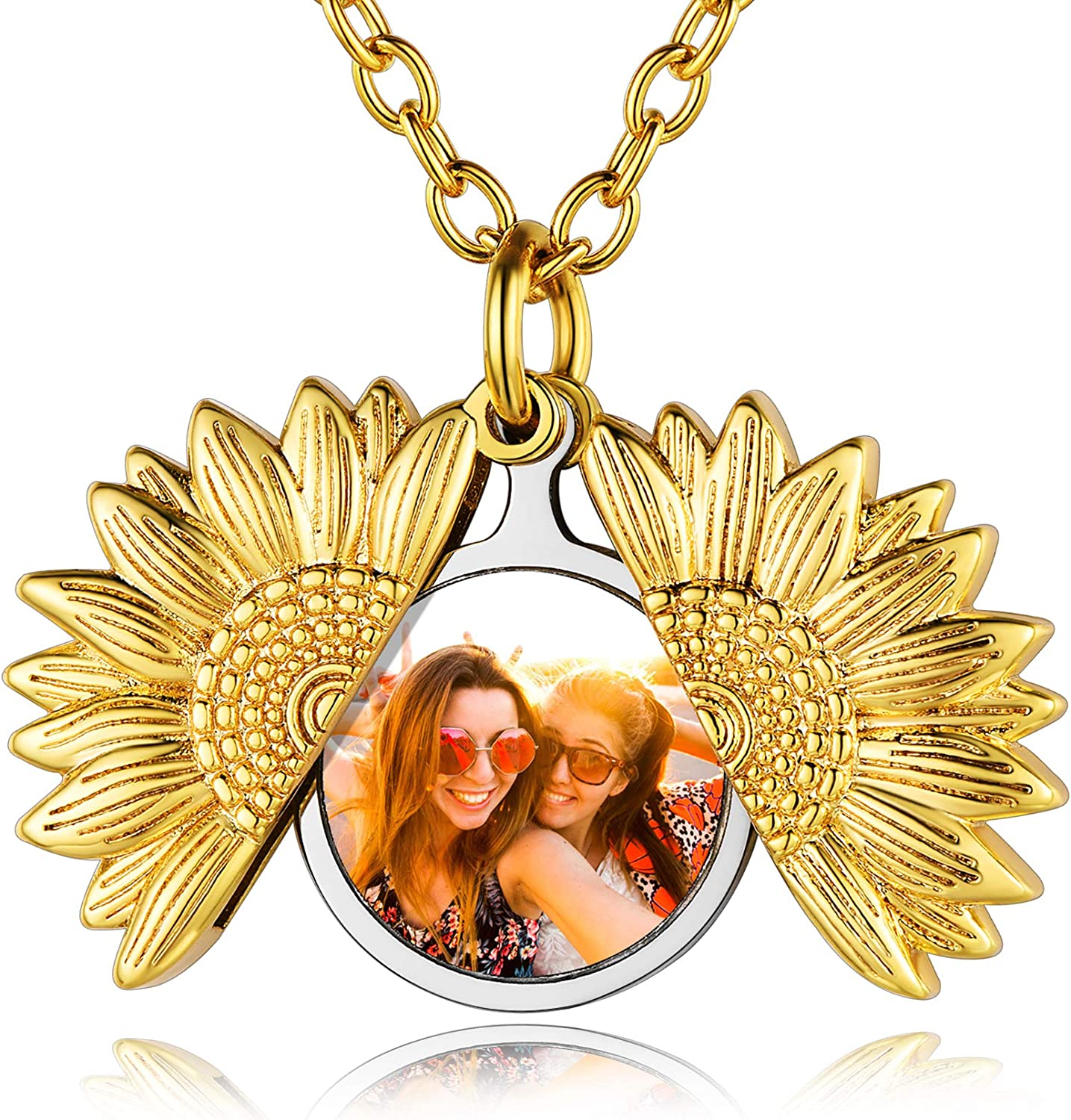 Custom4U Sunflower/Open Heart/Angel Wing Locket Necklace with Photo Personalized-Copper/Gold/Rose Gold Lockets That Holds Picture with Chain 20 Inches-Personalized Memorial Jewelry for Women Girls