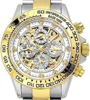 リッチな時を刻め!デキる男のスケルトンメンズ腕時計 [ ジョンハリソン 031 ] 誕生日プレゼント (GW ゴールド×ホワイト)