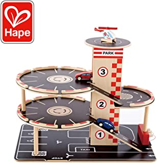 Hape Park and Go Garage   Car Ramp with Four Parking Levels, 2 Toy Cars, 1 Toy Helicopter, a Lift and Fueling Station