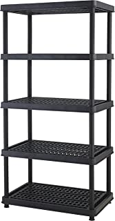 Keter 5-Shelf Heavy Duty Utility Freestanding Ventilated Shelving Unit Storage Rack, Black