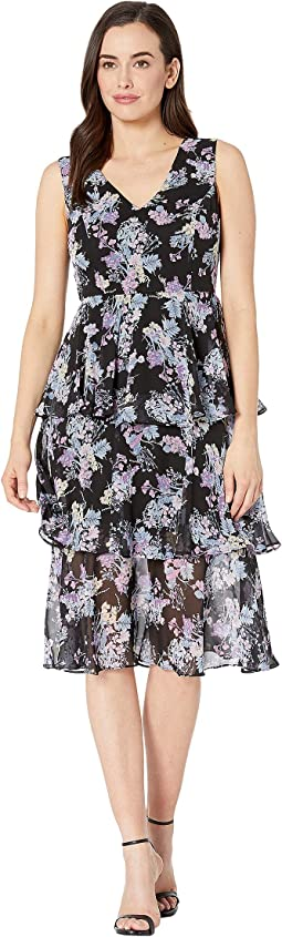 Nine West Glacier Floral Topstitch Dress W Pleats 6pm