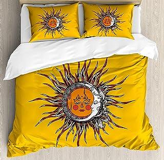 Juego de funda nórdica Sun 3 PCS, patrones abstractos celestes con caras antropomórficas y rayas en forma de remolino, juego de cama para niños / adolescentes / adultos / colcha para niños, multicolor