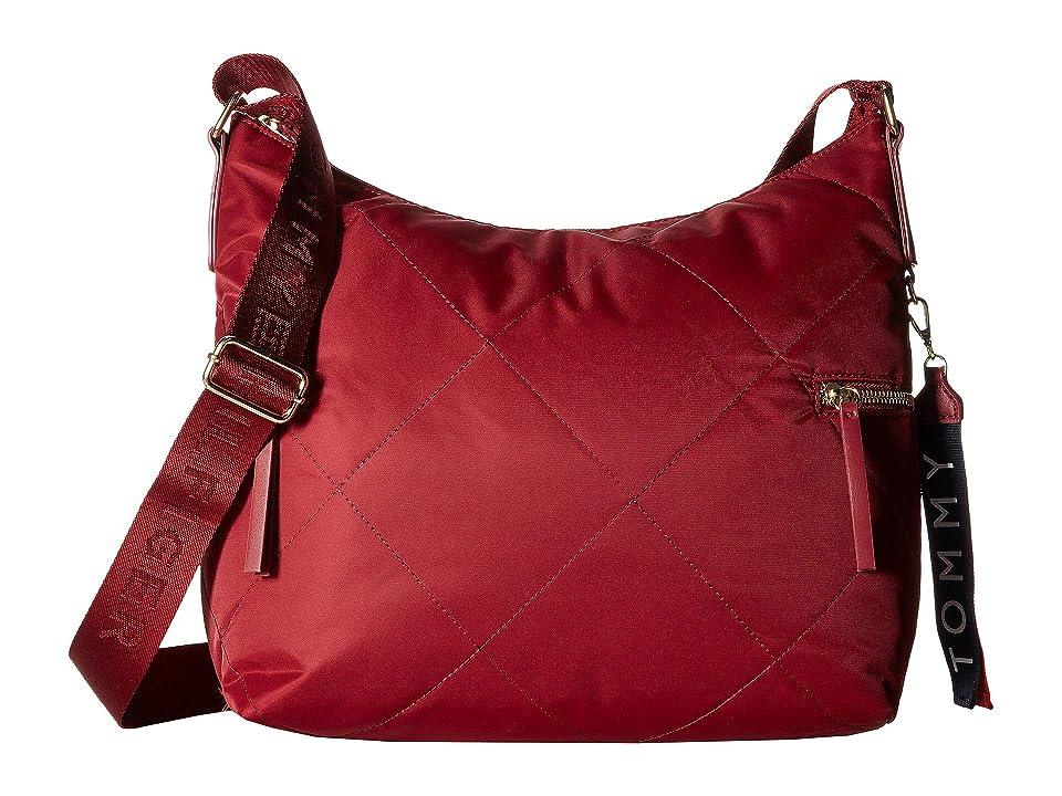 Tommy Hilfiger Kensington Hobo Quilted Nylon (Rhubarb) Hobo Handbags