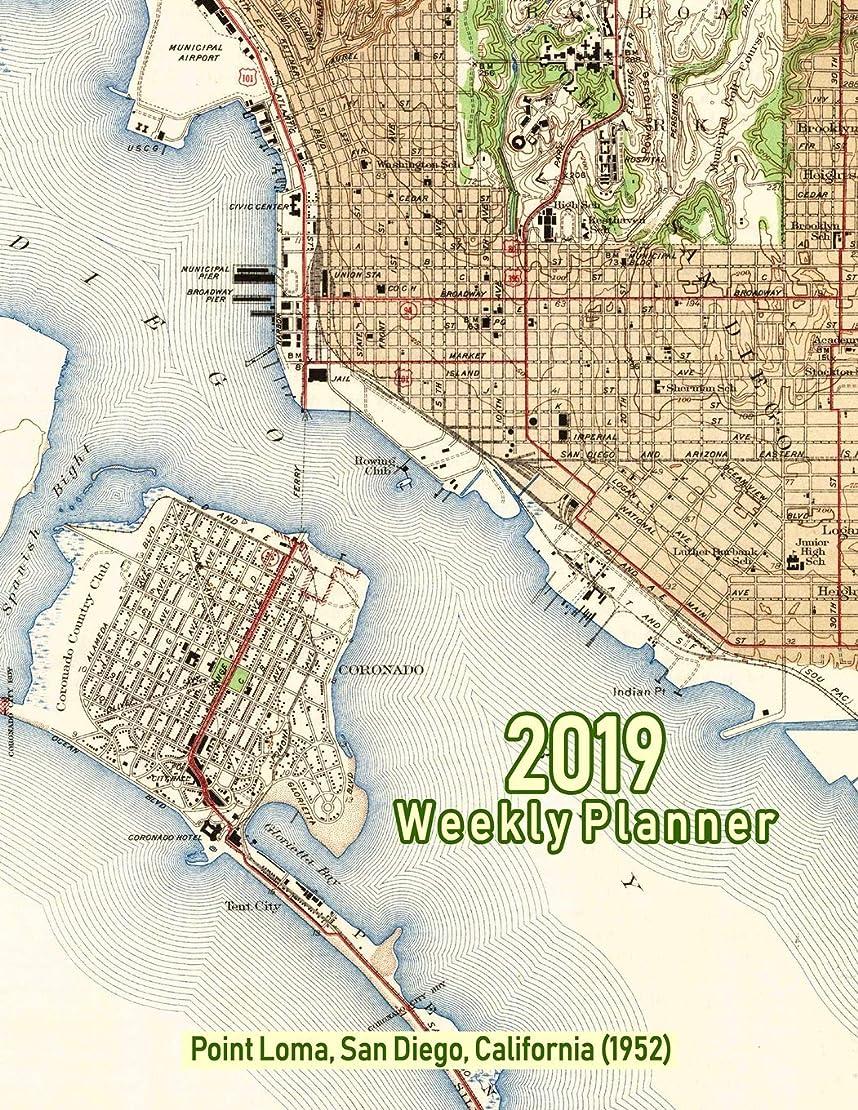 送るジェスチャー寛容2019 Weekly Planner: Point Loma, San Diego, California (1952): Vintage Topo Map Cover