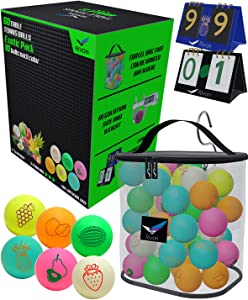 Rivon Ping Pong Balls - 60 Table Tennis Balls - Each Ping Pong Ball is 40+, 3 Star - Colored Indoor/Outdoor Ping Pong Balls Bulk, High Performance ABS - Exotic Pack