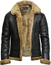 BRANDSLOCK Mens Flying B3 Genuine Shearling Sheepskin Leather Bomber Jacket