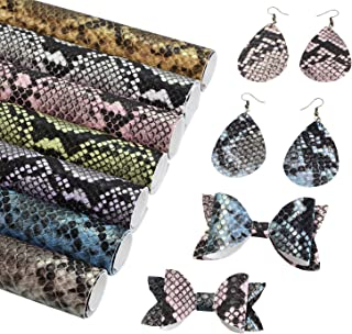 SHUANGART Embossed Snake Skin Pattern Faux Leather Sheets for Earrings Bows Making,7 Pcs A4 Size Metallic Iridescent Snake Scale Fabric for Crafts Wallet Sewing 8