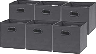6 Pack - SimpleHouseware Foldable Cube Storage Bin with Handle, Dark Grey (12-Inch Cube)
