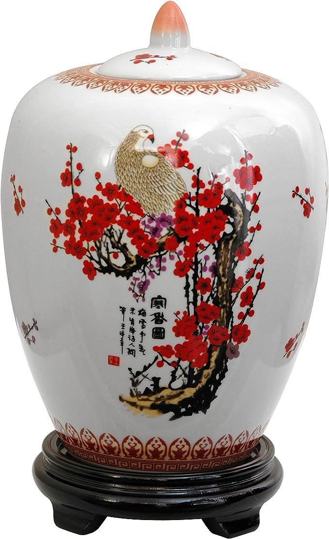 Oriental Furniture 11 Solid Black Porcelain Vase Jar Home Kitchen