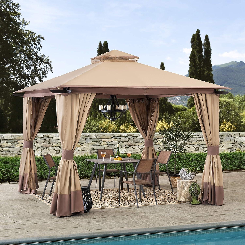 Sunjoy Outlet sale feature A101011700 Cristina 12x12 ft. Hi Bargain Gazebo 2-Tier with Steel