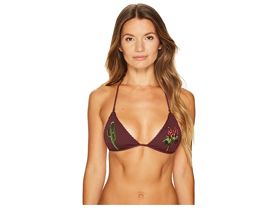 Stella McCartney Embroidery Triangle Top (Pad) (Claret) Women