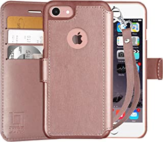 LUPA iPhone 6S Wallet case, iPhone 6 Wallet Case, Durable and Slim, Lightweight with Classic Design & Ultra-Strong Magnetic Closure, Faux Leather, Wristlet Rose Gold, for Apple iPhone 6s/6