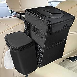 6L Poubelle de Voiture Sac à Poubelle pour Voiture Poubelle pour Mini-Van Étanche Pliable avec Couvercle et 3 Poches de St...