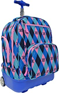 Treasureland Polycarbonate Molded Ultralight Rolling and Shoulder Backpack, Argyle