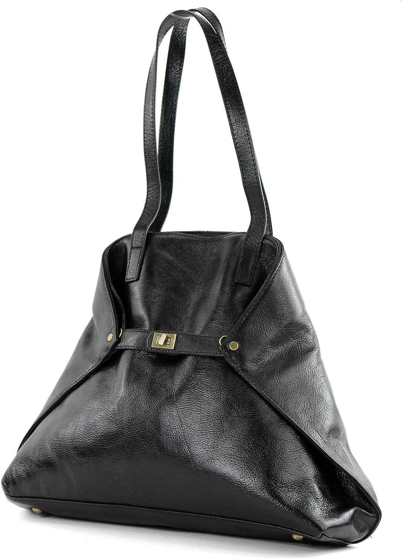 Modamoda de -T115 - ital Handtasche Schultertasche aus Leder B018W75NN6