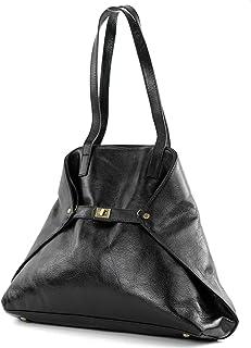 modamoda de -T115 - ital Handtasche Schultertasche aus Leder
