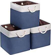 Syeeiex 13 inch cube storage bins Durable Large Cube Storage Bin Decorative Navy Cube Bins with Sturdy Cotton Rope Handles...