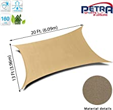 Petra's 20 Ft. X 13 Ft. Rectangle Sun Sail Shade. Durable Woven Outdoor Patio Fabric w/Up to 90% UV Protection. 20x13 Foot. (Desert Sand)