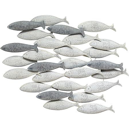 Amazon Com Deco 79 Metal Fish Wall Decor 53 By 20 Inch School Of Fish Home Kitchen
