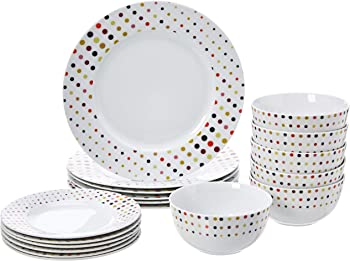 AmazonBasics 18-Piece Dinnerware Set Service for 6