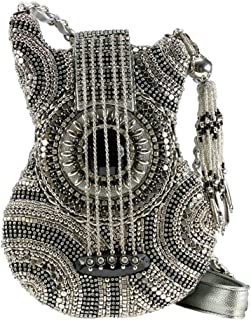 MARY FRANCES On Tour Hand Beaded Jeweled Studded Silver Black Retro Guitar Handbag Shoulder Bag
