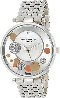 Akribos XXIV Women's AK963 Quartz Stainless Steel Casual Mother-of-Pearl Swarovski Crystals Watch