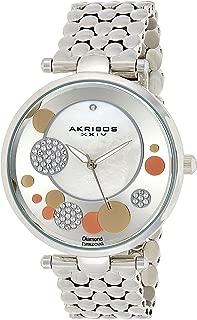 Akribos XXIV Diamond & Swarovski Women's Mother of Pearl Stainless Steel Band Watch