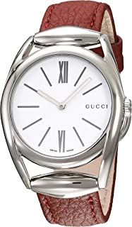 e29b120f2d1 Gucci Swiss Quartz Stainless Steel and Leather Watch(Model  YA140403)