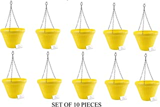 Unique Plastic Hanging Pot with Metal Chain (Yellow, Pack of 10)