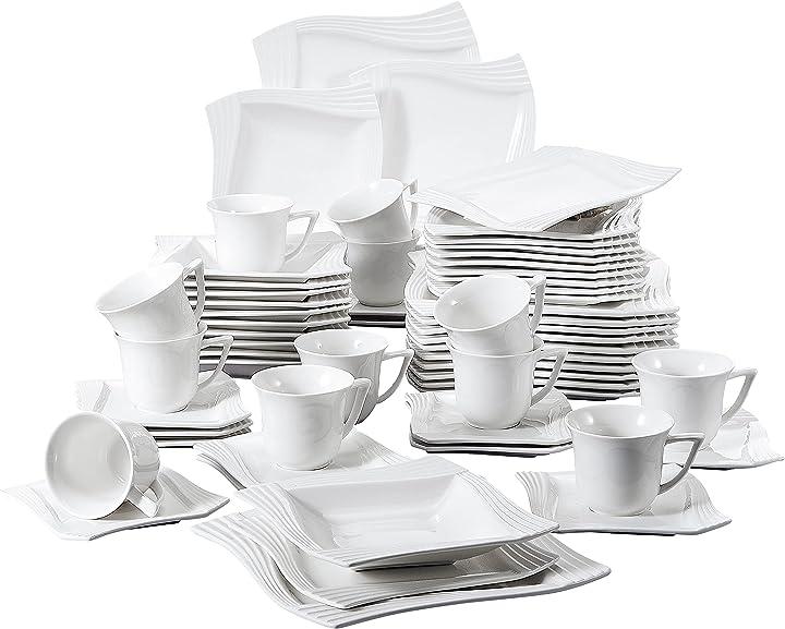 Servizio tavola in porcellana 60 pezzi by malacasa ?BEA-IT-AP-30-2